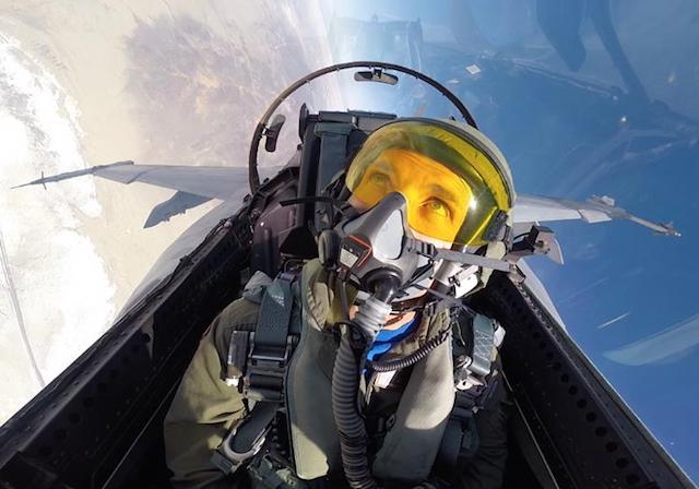 """E. Vincent """"Jell-O"""" Aiello - in flight in his F/A-18."""