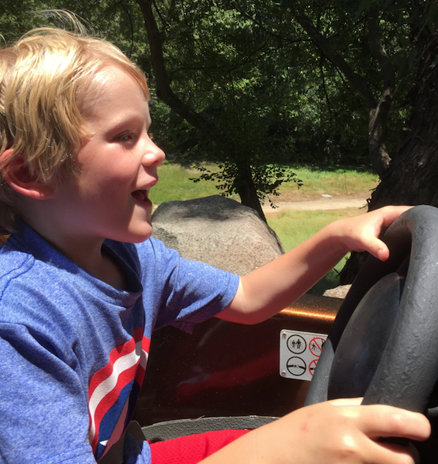 Dallas loved the go-cars at Disneyland. I never heard him stop laughing! Laura and the girls were right behind us.